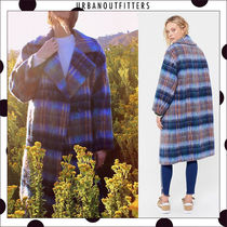 Urban Outfitters Stand Collar Coats Gingham Unisex Blended Fabrics