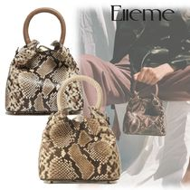 elleme Casual Style 2WAY Leather Party Style Python Elegant Style