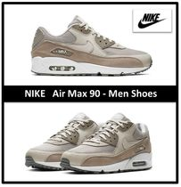 Nike AIR MAX 90 Street Style Plain Leather Sneakers
