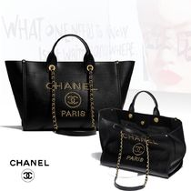 CHANEL Casual Style Studded A4 Chain Plain Elegant Style Totes