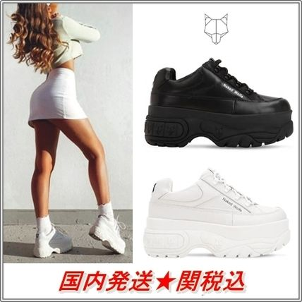 Platform Unisex Plain Leather Platform & Wedge Sneakers