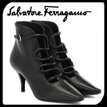 Salvatore Ferragamo Casual Style Plain Leather Pin Heels Ankle & Booties Boots