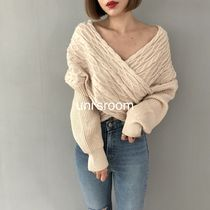 Cable Knit Casual Style Puffed Sleeves V-Neck Long Sleeves