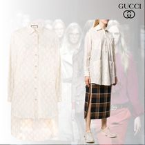 GUCCI Monogram Casual Style Long Sleeves Cotton Long Party Style