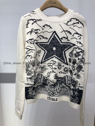 Crew Neck Short Star Cashmere Long Sleeves Cropped