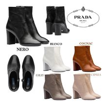PRADA Plain Leather Block Heels Elegant Style