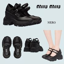 MiuMiu Platform Plain Toe Rubber Sole Casual Style Plain Leather