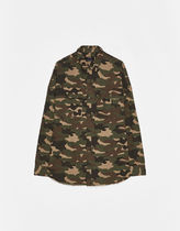 Bershka Camouflage Street Style Long Sleeves Cotton Oversized Khaki
