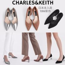 Charles&Keith Casual Style Suede Plain Leather Party Style Office Style