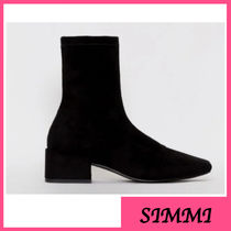 SIMMI Casual Style Suede Plain Block Heels Office Style