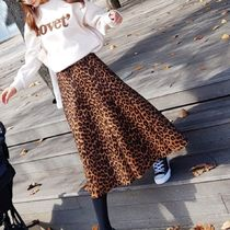 Leopard Patterns Casual Style Long Elegant Style Maxi Skirts
