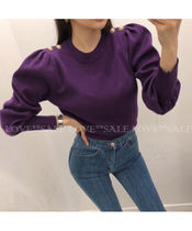 Crew Neck Casual Style Puffed Sleeves Long Sleeves Plain