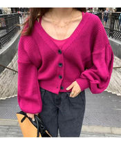 Cable Knit Casual Style Dolman Sleeves Puffed Sleeves V-Neck