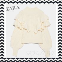 ZARA Cable Knit Casual Style Wool Nylon Long Sleeves Cotton