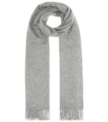 Cashmere Plain Fringes Knit & Fur Scarves