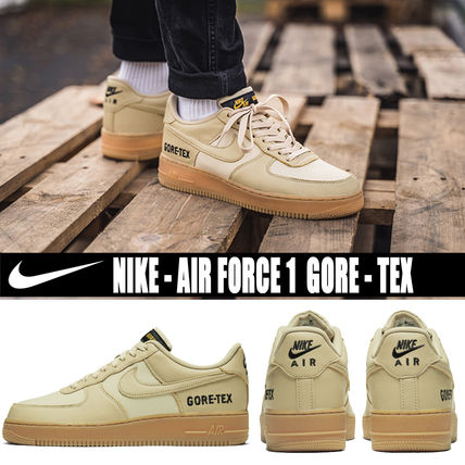 Nike AIR FORCE 1 2019 20AW Blended Fabrics Street Style Plain Leather Sneakers