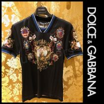 Dolce & Gabbana Pullovers Street Style V-Neck Cotton Short Sleeves