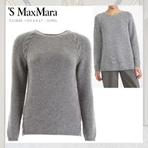 S Max Mara Crew Neck Cable Knit Casual Style Cashmere Long Sleeves
