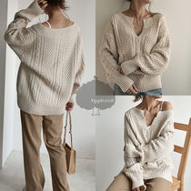 Cable Knit Casual Style Long Sleeves Plain Long Knitwear