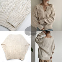 Cable Knit Casual Style Long Sleeves Plain Long Sweaters