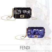 FENDI BAGUETTE Monogram Casual Style Lambskin 2WAY Chain Leather