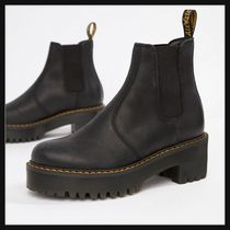 Dr Martens Round Toe Casual Style Plain Leather Lace-up Boots