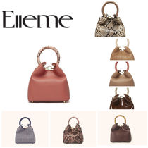 elleme Gingham Zigzag Casual Style Faux Fur Blended Fabrics 2WAY