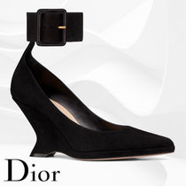 Christian Dior Plain Leather Wedge Pumps & Mules