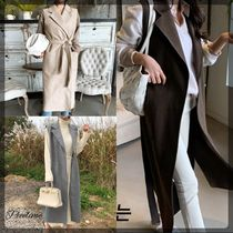 Casual Style Plain Long Office Style Oversized