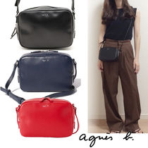 Agnes b Plain Leather Crossbody Logo Shoulder Bags