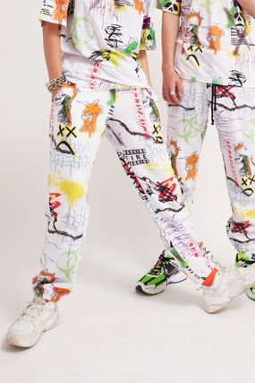 Printed Pants Tropical Patterns Unisex Sweat Street Style