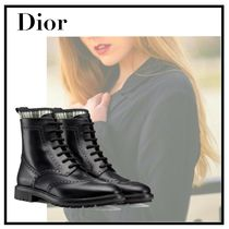 Christian Dior Tartan Plain Leather Elegant Style Ankle & Booties Boots