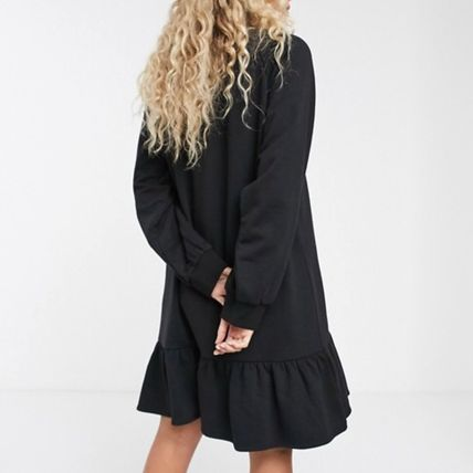 Short Casual Style Maxi A-line Flared Long Sleeves Plain