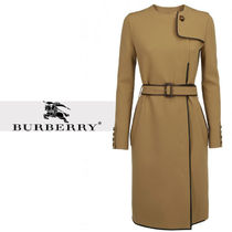 Burberry Wool Plain Long Office Style Elegant Style Peacoats