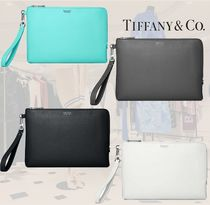 Tiffany & Co Calfskin Plain Leather Party Style Elegant Style Clutches