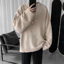 Crew Neck Pullovers Street Style Long Sleeves Plain
