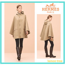 HERMES Unisex Blended Fabrics Plain Medium Ponchos & Capes