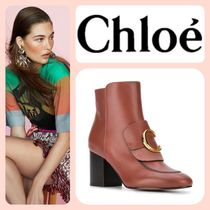 Chloe Round Toe Casual Style Blended Fabrics Leather Block Heels