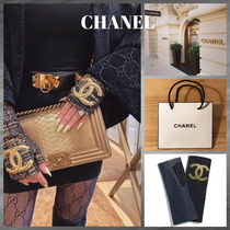 CHANEL Tweed Blended Fabrics Plain Leather Logo
