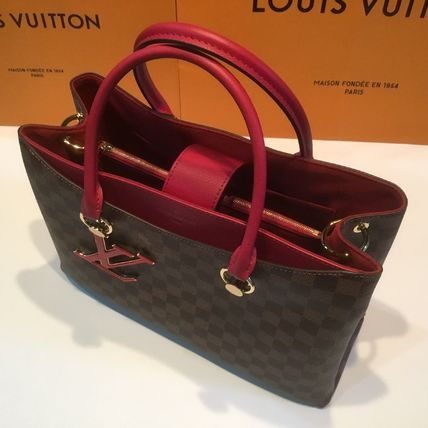 Louis Vuitton Handbags Casual Style Calfskin Blended Fabrics A4 2WAY Office Style 16