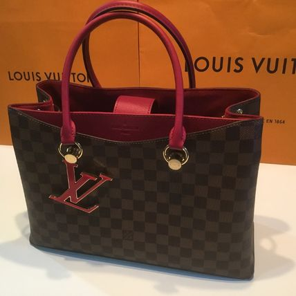 Louis Vuitton Handbags Casual Style Calfskin Blended Fabrics A4 2WAY Office Style