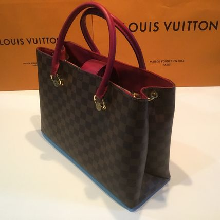 Louis Vuitton Handbags Casual Style Calfskin Blended Fabrics A4 2WAY Office Style 18