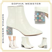 SOPHIA WEBSTER Round Toe Studded Plain Leather Block Heels Elegant Style