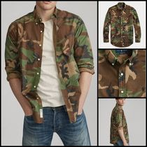 Ralph Lauren Button-down Camouflage Street Style Long Sleeves Cotton
