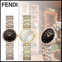 FENDI FOREVER Round Quartz Watches With Jewels Office Style Elegant Style