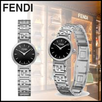FENDI FOREVER Casual Style Stainless With Jewels Office Style