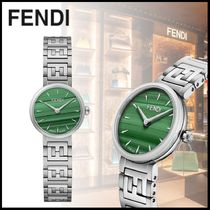 FENDI FOREVER Blended Fabrics Round Quartz Watches Stainless With Jewels