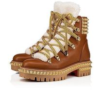 Christian Louboutin Mountain Boots Faux Fur Studded Plain Leather Outdoor Boots