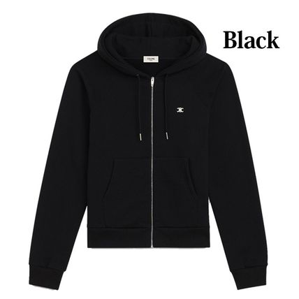 CELINE Hoodies Unisex Street Style Long Sleeves Plain Cotton Hoodies 3