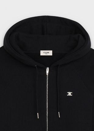 CELINE Hoodies Unisex Street Style Long Sleeves Plain Cotton Hoodies 5